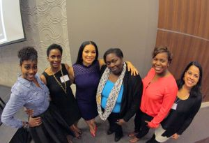 Me (turquoise shirt) surrounded by the 2015 speakers and host. L to R, Diana Watley, Dr. Maria Barnes, Egypt Sherrod, me, Kendra Morman (host), Dr. Roxanne Donovan. Missing Tracy Nicole.